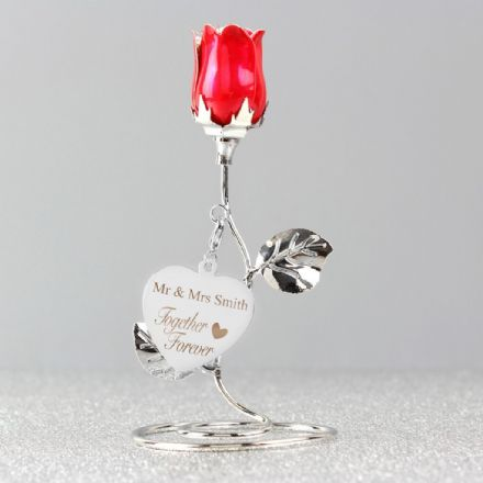 Personalised Red Rose Bud Ornament - Together Forever